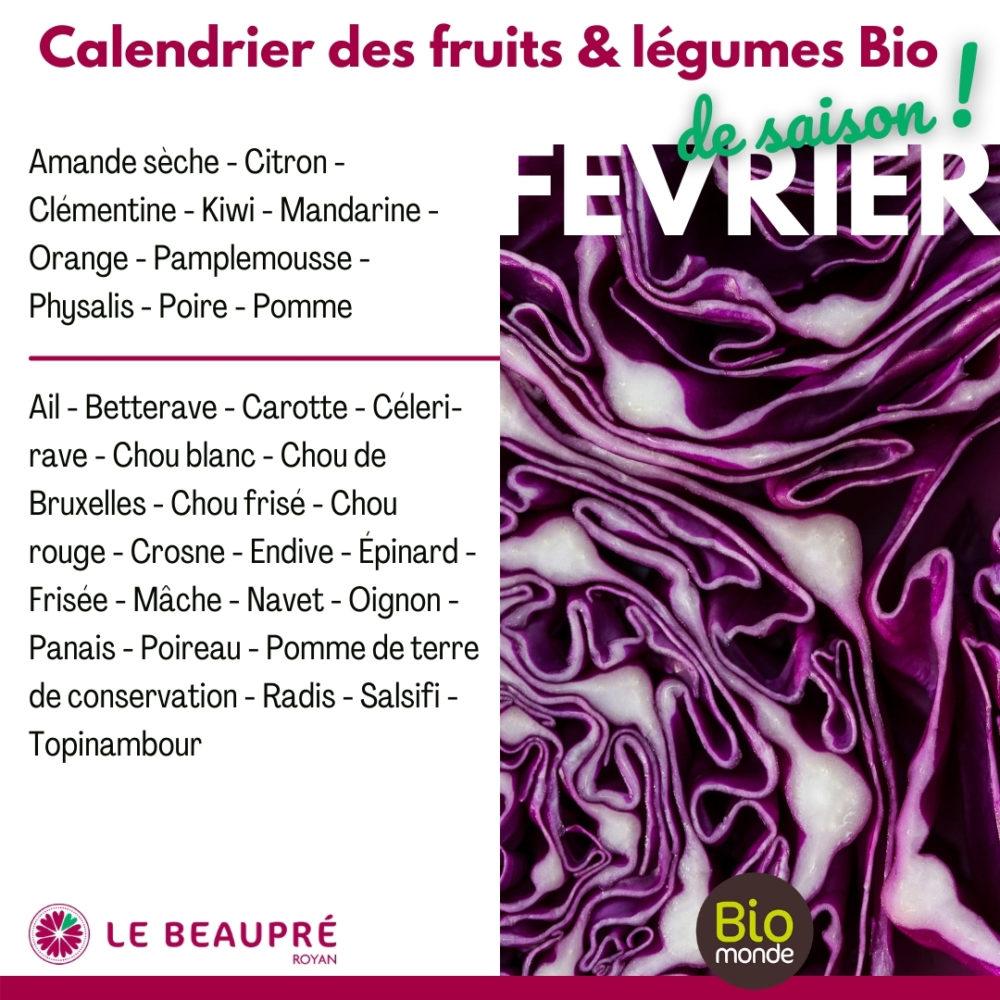 Fruits et légumes Bio magasin Biomonde Le Beaupré Royan Ail - Betterave - Carotte - Céleri-rave - Chou blanc - Chou de Bruxelles - Chou frisé - Chou rouge - Crosne - Endive - Épinard - Frisée - Mâche - Navet - Oignon - Panais - Poireau - Pomme de terre de conservation - Radis - Salsifi - Topinambour
