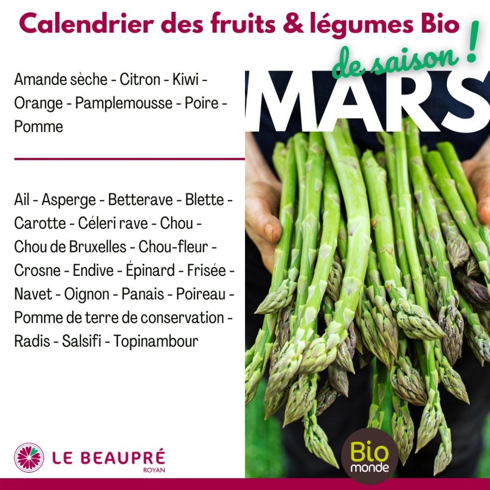 Fruits et légumes Bio magasin Biomonde Le Beaupré Royan Ail - Asperge - Betterave - Blette - Carotte - Céleri rave - Chou - Chou de Bruxelles - Chou-fleur - Crosne - Endive - Épinard - Frisée - Navet - Oignon - Panais - Poireau - Pomme de terre de conservation - Radis - Salsifi - Topinambour