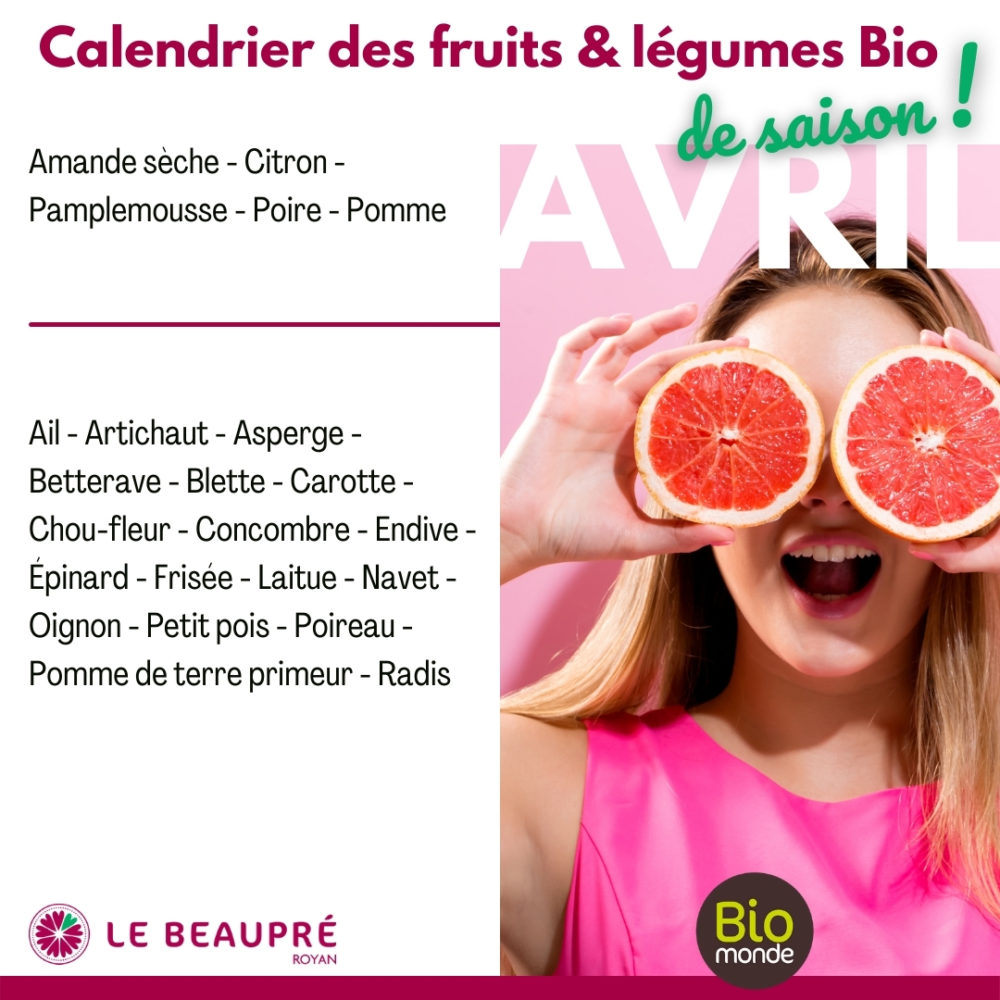 Fruits et légumes Bio magasin Biomonde Le Beaupré Royan Ail - Artichaut - Asperge - Betterave - Blette - Carotte - Chou-fleur - Concombre - Endive - Épinard - Frisée - Laitue - Navet - Oignon - Petit pois - Poireau - Pomme de terre primeur - Radis