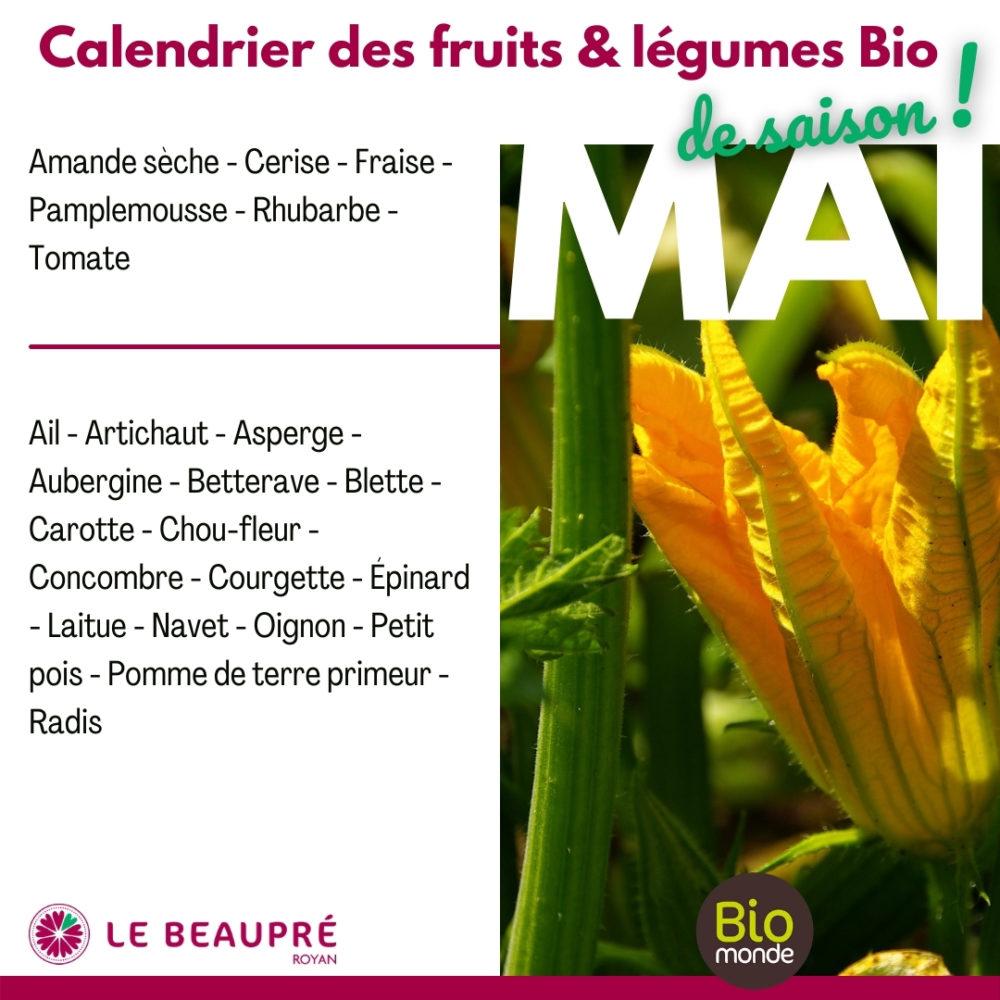 Fruits et légumes Bio magasin Biomonde Le Beaupré Royan Ail - Artichaut - Asperge - Aubergine - Betterave - Blette - Carotte - Chou-fleur - Concombre - Courgette - Épinard - Laitue - Navet - Oignon - Petit pois - Pomme de terre primeur - Radis