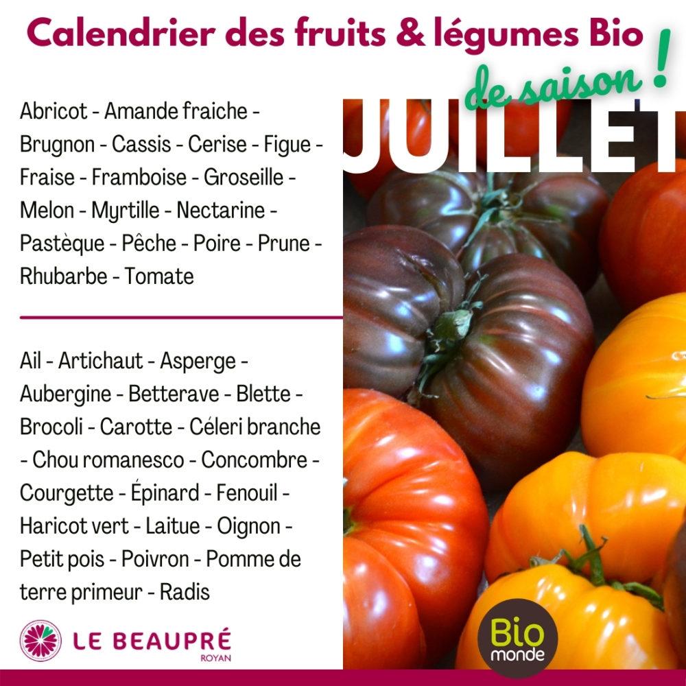 Fruits et légumes Bio magasin Biomonde Le Beaupré Royan Ail - Artichaut - Asperge - Aubergine - Betterave - Blette - Brocoli - Carotte - Céleri branche - Chou romanesco - Concombre - Courgette - Épinard - Fenouil - Haricot vert - Laitue - Oignon - Petit pois - Poivron - Pomme de terre primeur - Radis