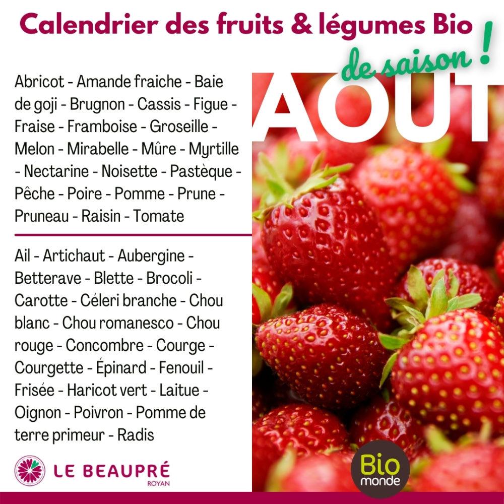 Fruits et légumes Bio magasin Biomonde Le Beaupré Royan Ail - Artichaut - Aubergine - Betterave - Blette - Brocoli - Carotte - Céleri branche - Chou blanc - Chou romanesco - Chou rouge - Concombre - Courge - Courgette - Épinard - Fenouil - Frisée - Haricot vert - Laitue - Oignon - Poivron - Pomme de terre primeur - Radis