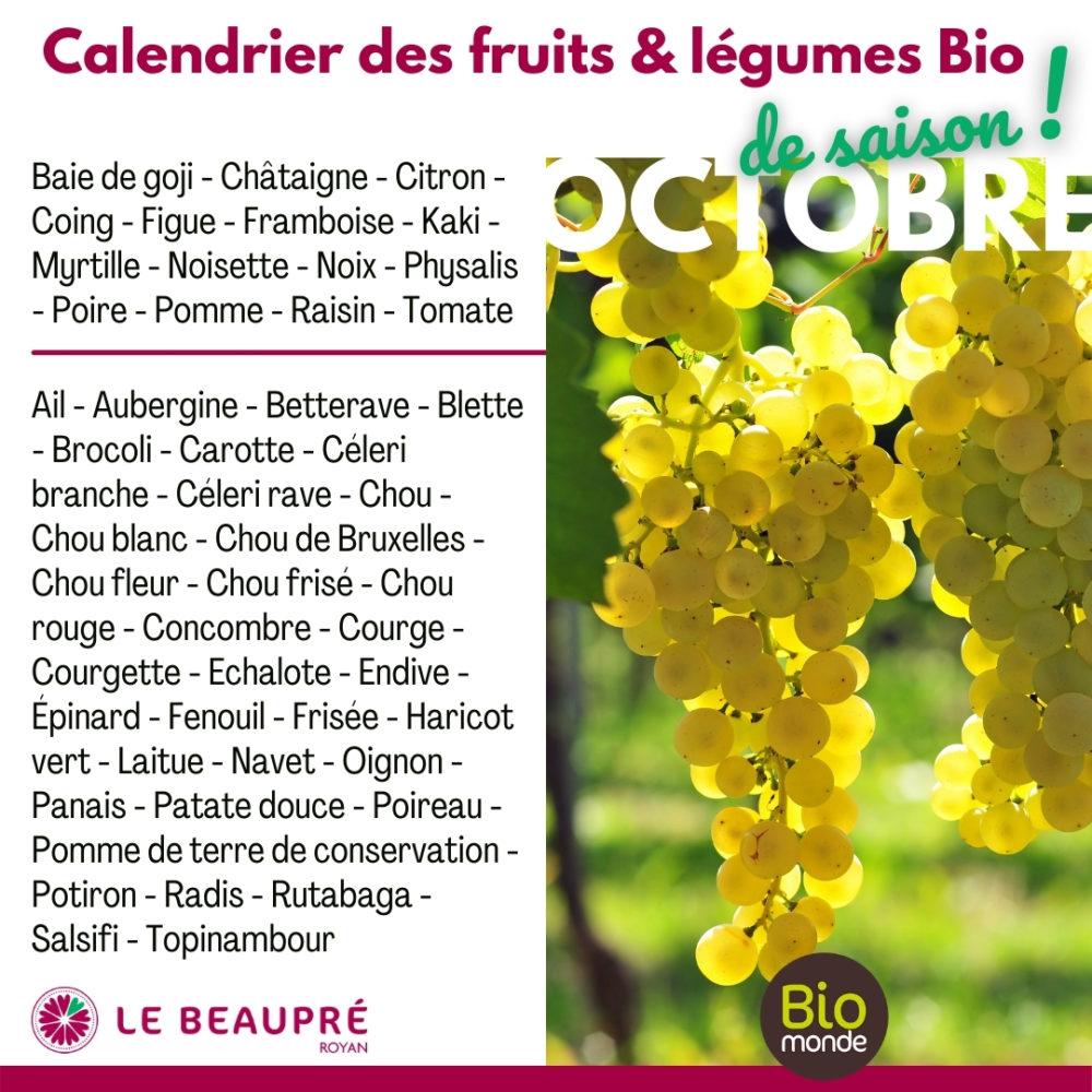 Fruits et légumes Bio magasin Biomonde Le Beaupré Royan Ail - Aubergine - Betterave - Blette - Brocoli - Carotte - Céleri branche - Céleri rave - Chou - Chou blanc - Chou de Bruxelles - Chou fleur - Chou frisé - Chou rouge - Concombre - Courge - Courgette - Echalote - Endive - Épinard - Fenouil - Frisée - Haricot vert - Laitue - Navet - Oignon - Panais - Patate douce - Poireau - Pomme de terre de conservation - Potiron - Radis - Rutabaga - Salsifi - Topinambour