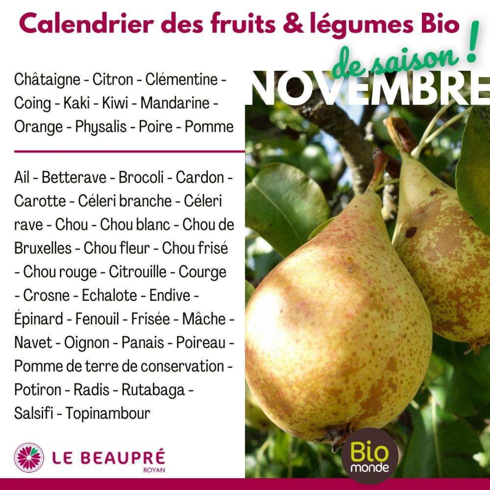 Fruits et légumes Bio magasin Biomonde Le Beaupré Royan Ail - Betterave - Brocoli - Cardon - Carotte - Céleri branche - Céleri rave - Chou - Chou blanc - Chou de Bruxelles - Chou fleur - Chou frisé - Chou rouge - Citrouille - Courge - Crosne - Echalote - Endive - Épinard - Fenouil - Frisée - Mâche - Navet - Oignon - Panais - Poireau - Pomme de terre de conservation - Potiron - Radis - Rutabaga - Salsifi - Topinambour
