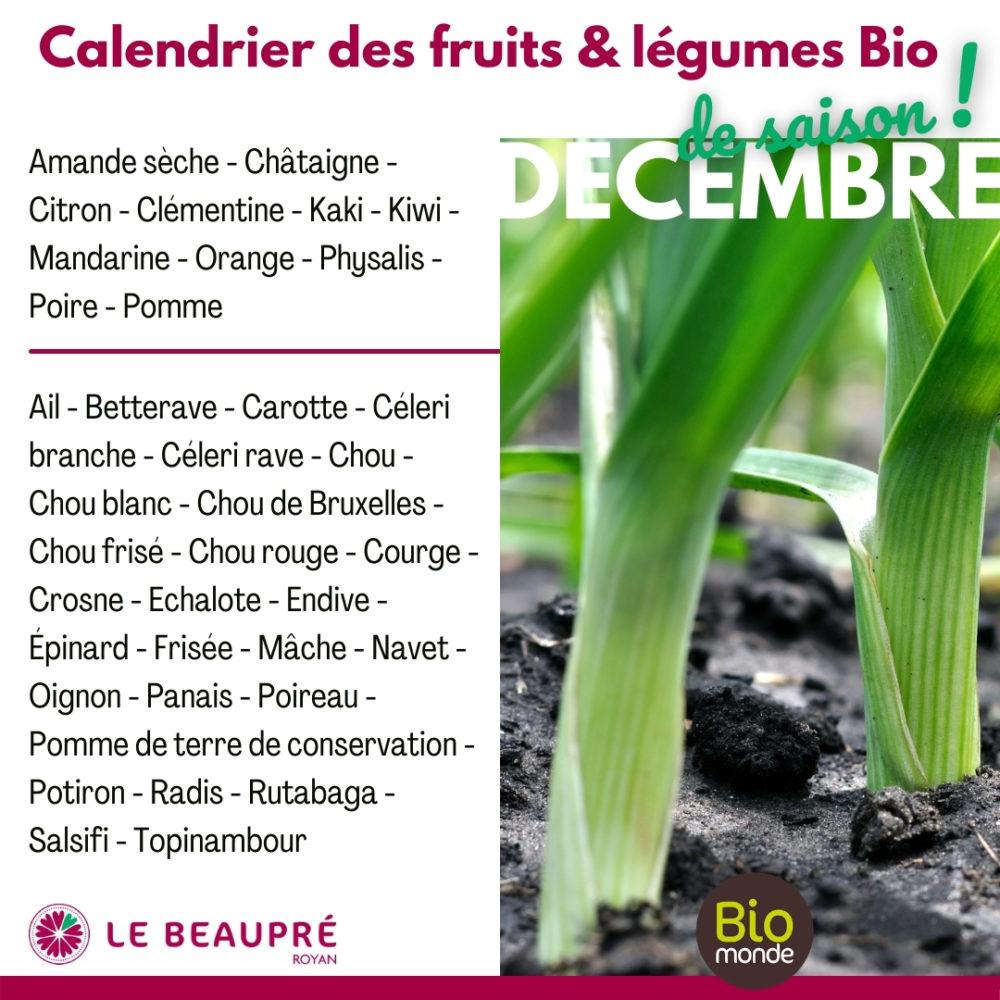 Fruits et légumes Bio magasin Biomonde Le Beaupré Royan Ail - Betterave - Carotte - Céleri branche - Céleri rave - Chou - Chou blanc - Chou de Bruxelles - Chou frisé - Chou rouge - Courge - Crosne - Echalote - Endive - Épinard - Frisée - Mâche - Navet - Oignon - Panais - Poireau - Pomme de terre de conservation - Potiron - Radis - Rutabaga - Salsifi - Topinambour